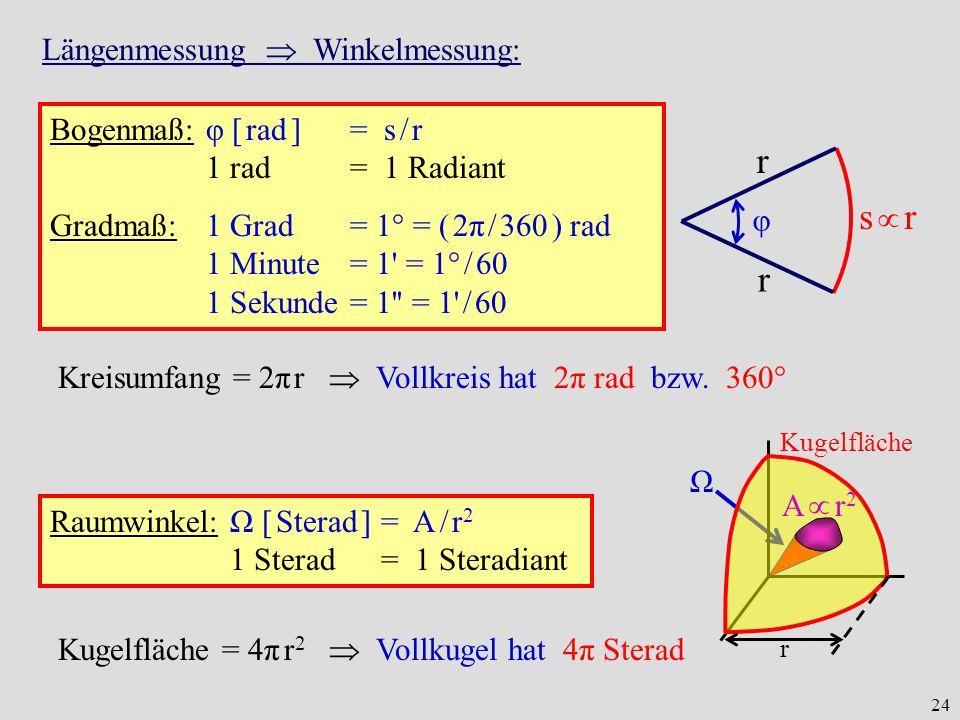 s  r r Längenmessung  Winkelmessung: Bogenmaß: φ [ rad ] = s / r
